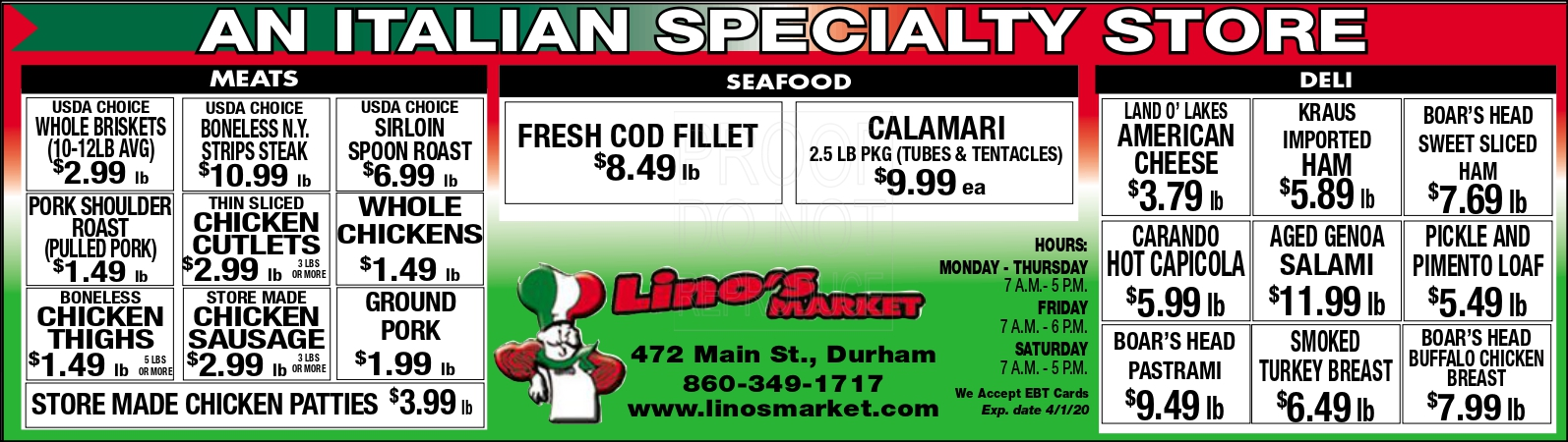 Lino's Market Specials expiring 4/1/2020. Click on link to view