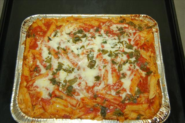 Fresh Penne Pasta with three cheeses, smothered in our home made marinara sauce