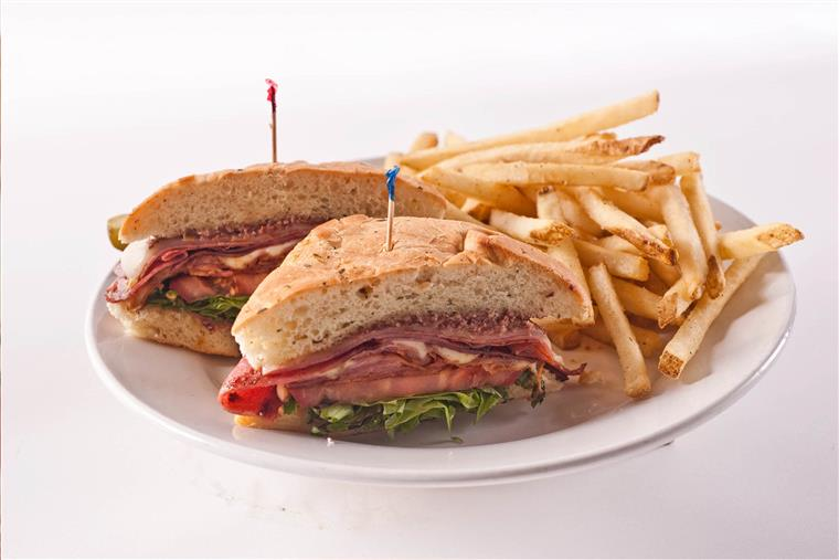 sandwich with fries on a plate