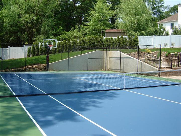 empty tennis court with a basketball net all surrounded by trees and bushes