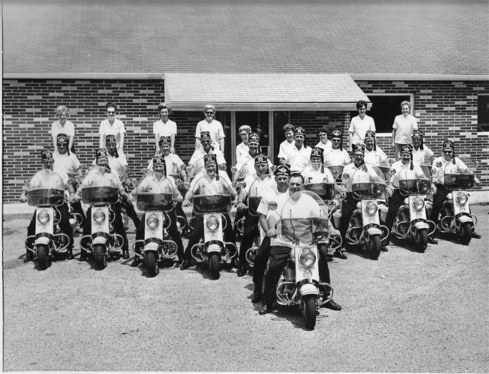 Vintage photo of a motorcycle club outside Archie's Waeside