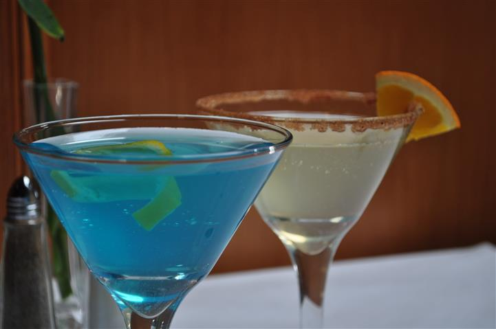 blue and white drink in martini glasses