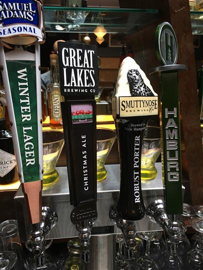 bar tap with winter lager, great lakes, and other beer selections