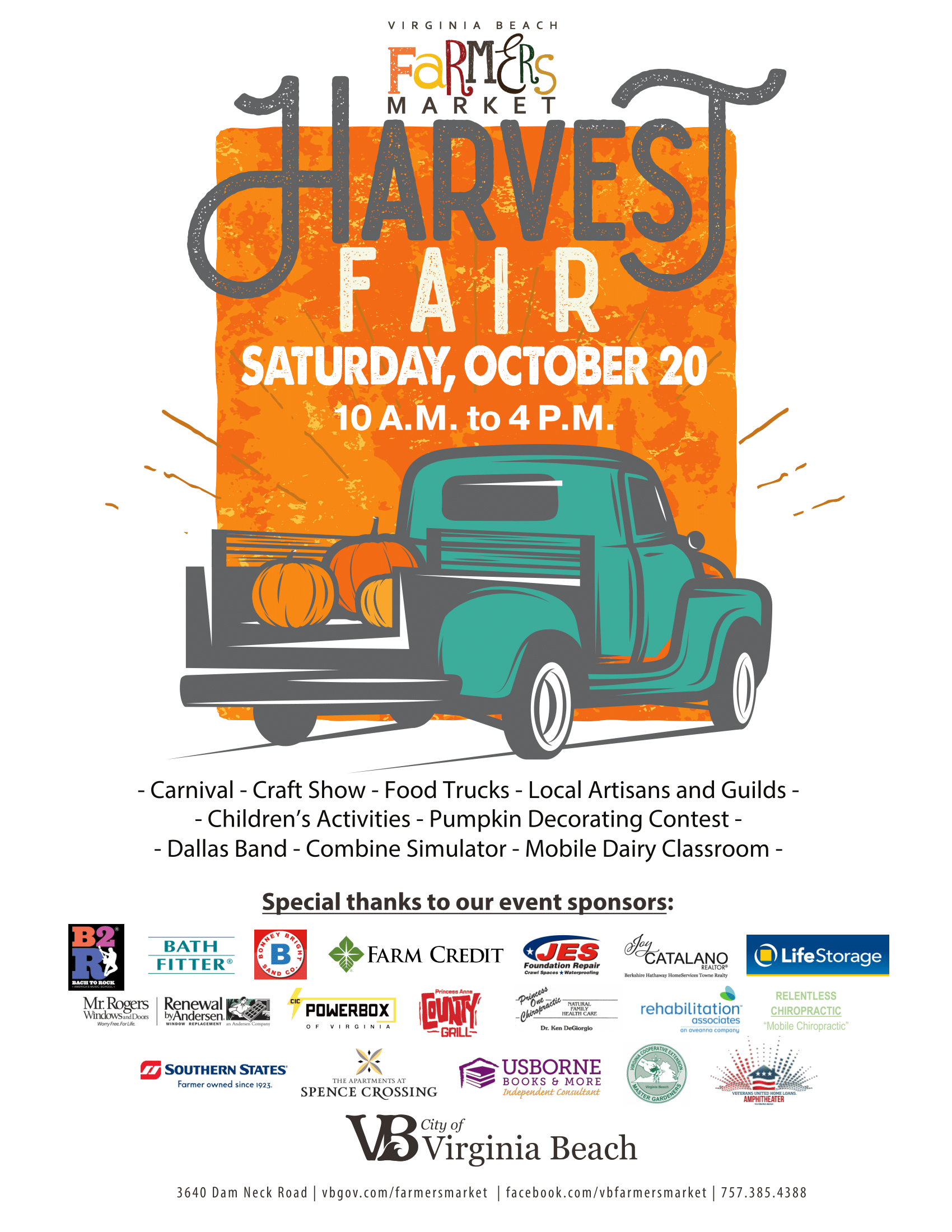 Harvest Fair  October 20th, 10 am to 4 pm. Carnivla, craft shoe, food trucks, and more!