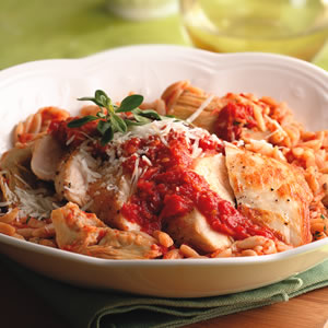 Chicken and Pasta with sauce and cheese