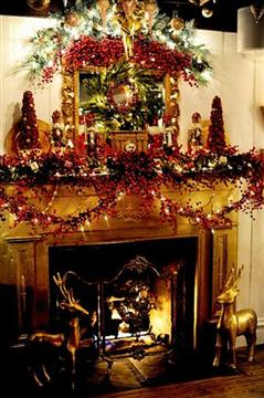 fire place with christmas decorations