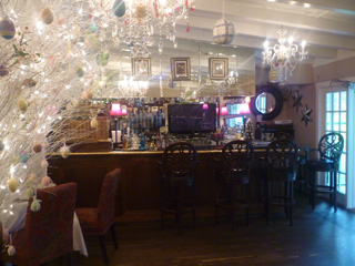the bar decorated multiple bar stools around
