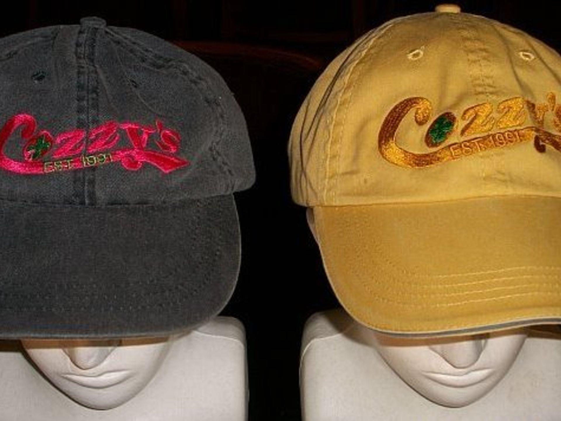Cozzy's branded baseball caps