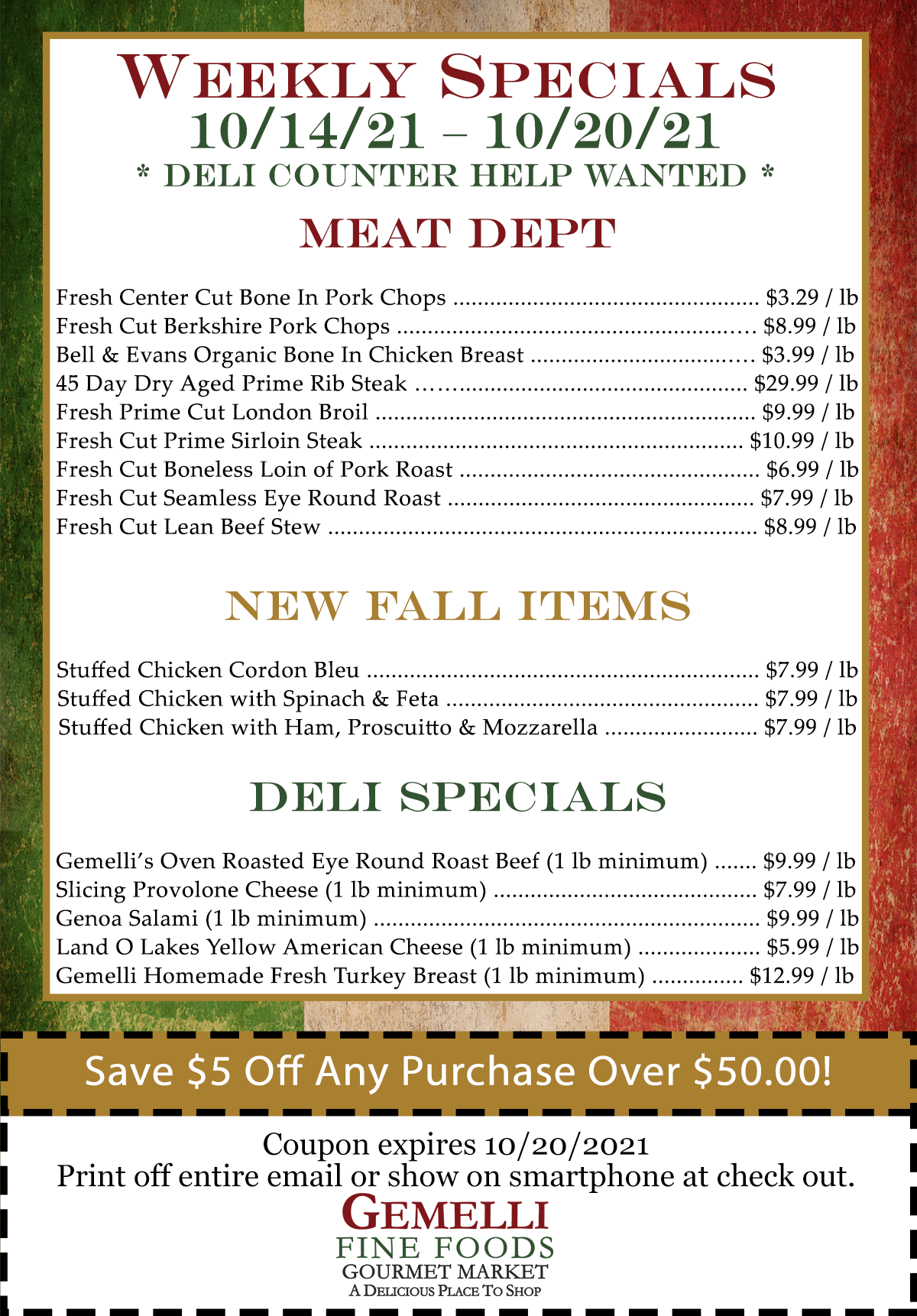 Weekly specials for 10/14 - 10/20. Click image or button above image for pdf.