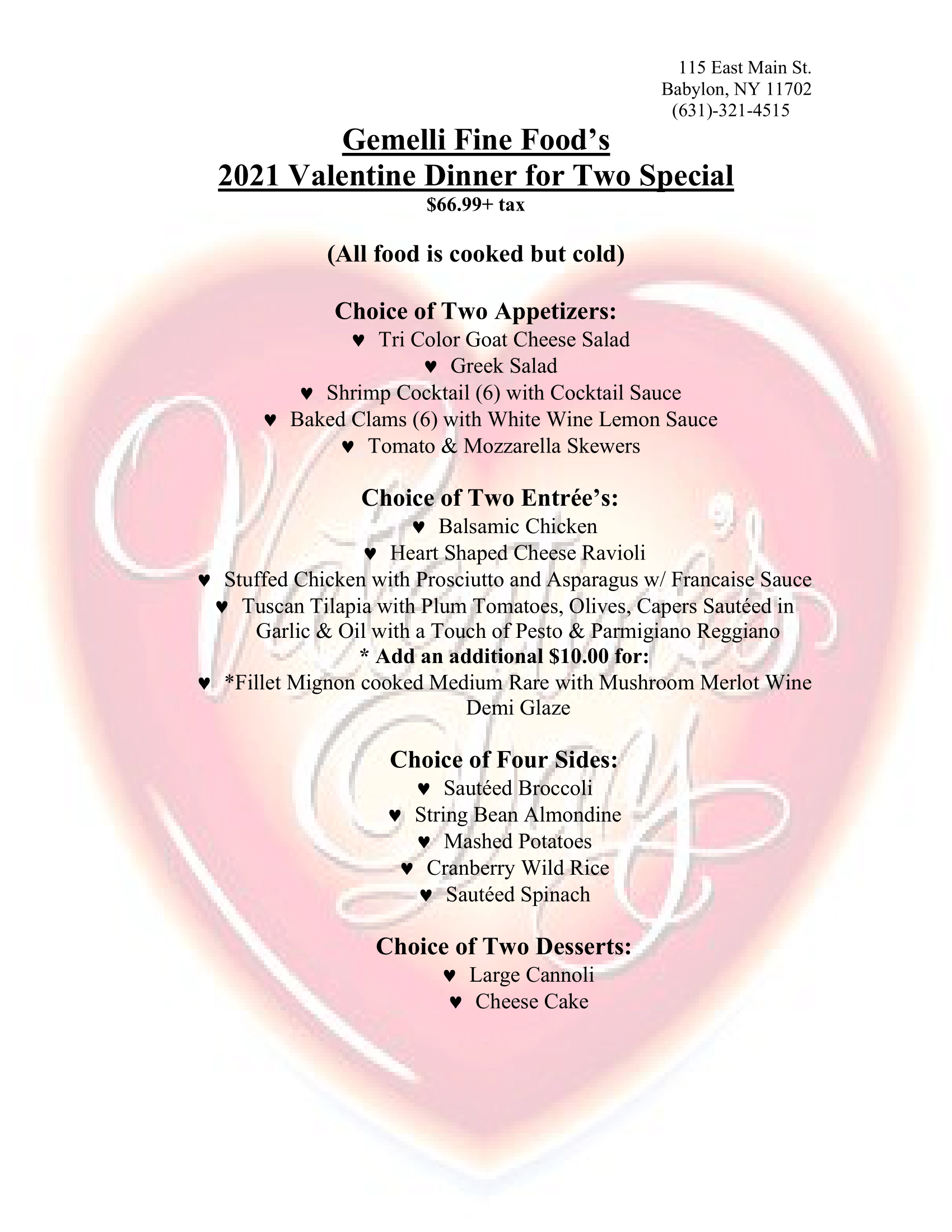 2021 Valentine Dinner for Two Special (Click for PDF version)