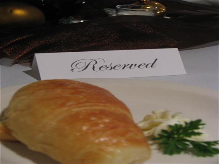 Reserved sign with bread