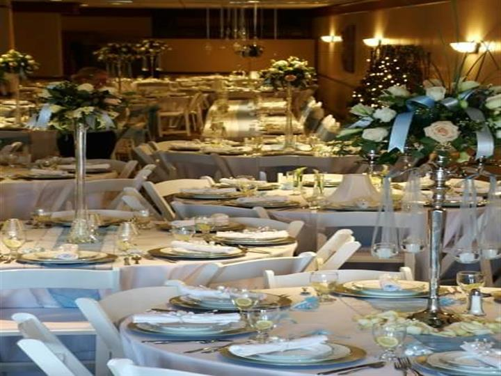 Tables and chairs set for a wedding