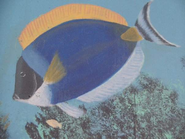 Painting of Surgeon fish under water