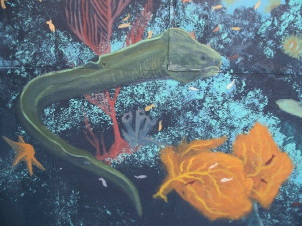 Painting of a eel under water with fish
