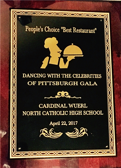 Peoples Choice Best Restaurant. Dancing with the celebrities of Pittsburgh gala. Cardinal Wuerl North Catholic High School.  April 22, 2017