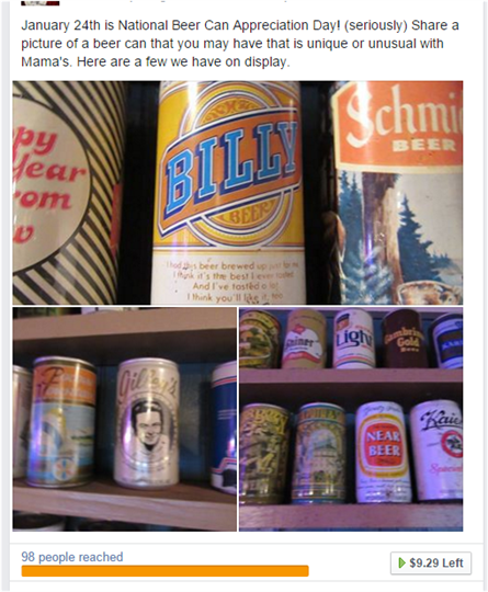 national beer day post from facebook showcasing old vintage beer cans