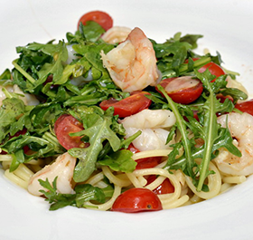 salad topped with shrimp