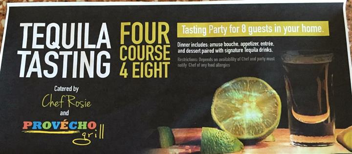 Tequila tasting: Four course for eight. Tasting party for 8 guests in your home