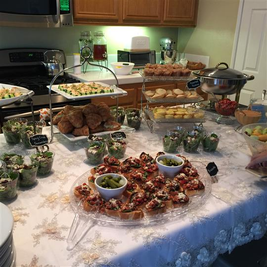 A home table with several catering trays