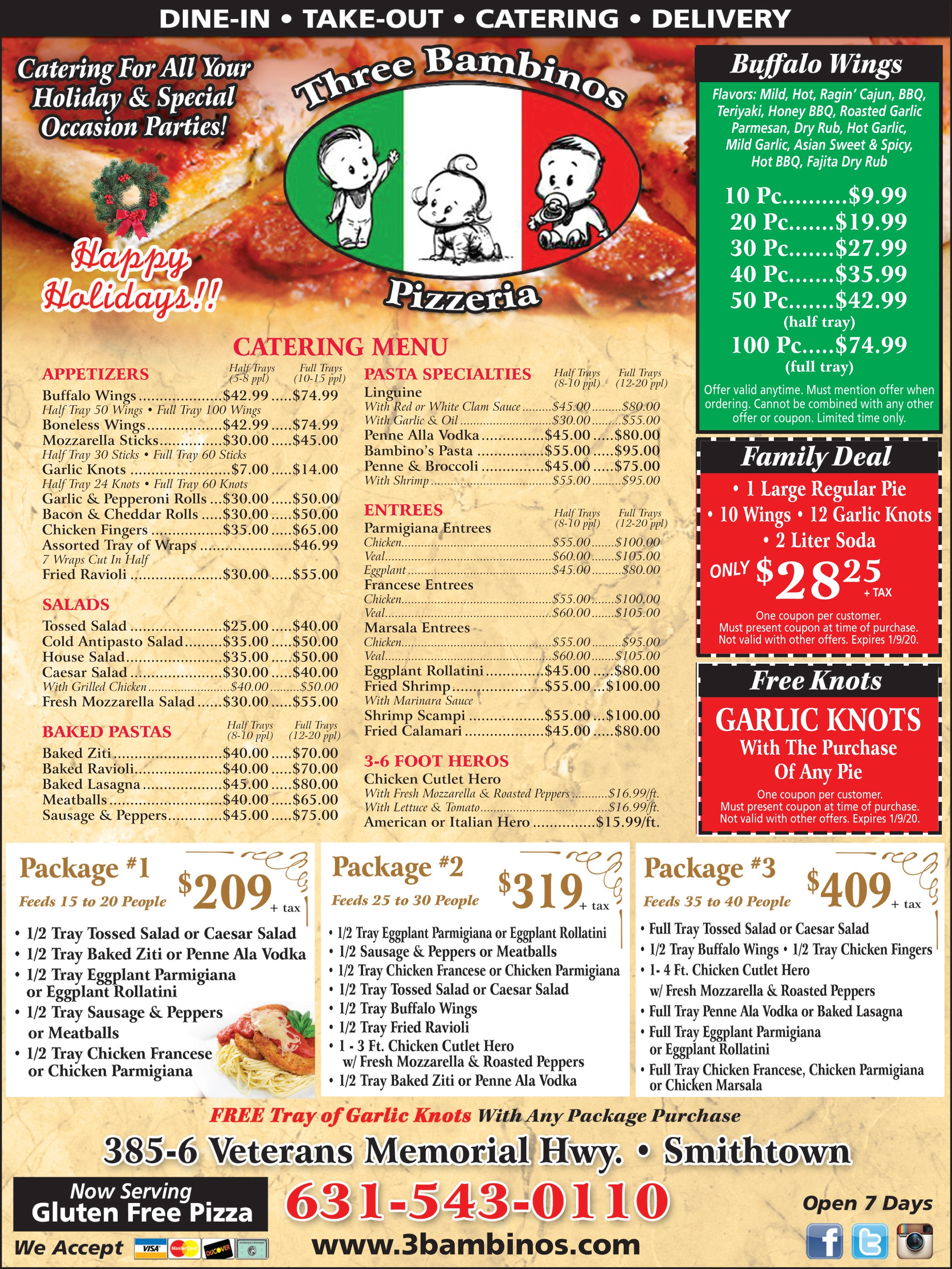 3 bambinos pizzeria, catering for all your holiday & special occasion parties! happy holidays!catering specials