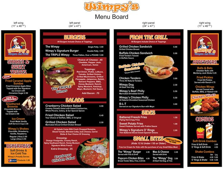 ---- Wimpy's menu board (large)