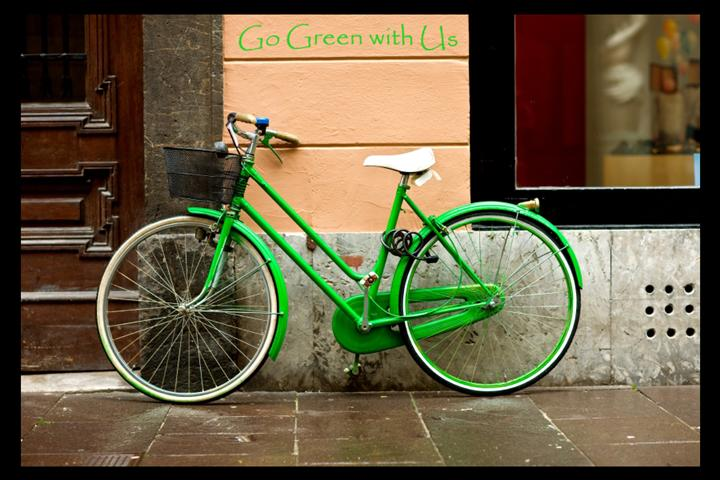 green bike outside