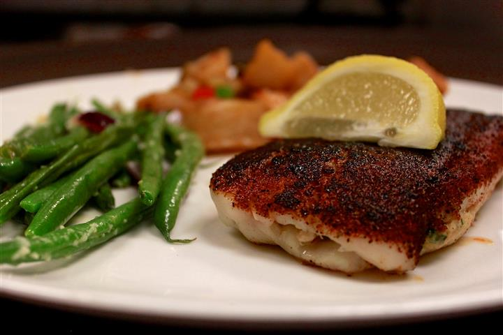 seared whitefish with vegetables