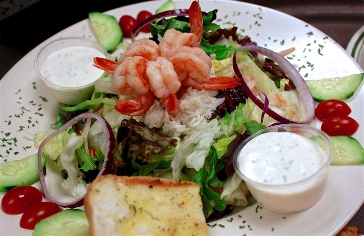 shrimp salad with dressing and crab meat