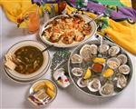 oysters, seafood gumbo, fried shrimp