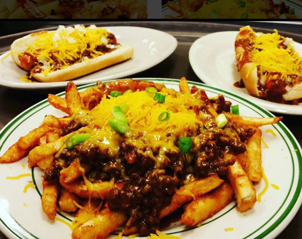 loaded fries with chili, cheese