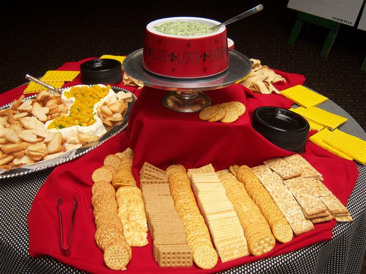 various crackers and dip