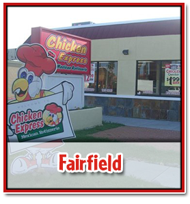 outside view of the chicken express storefront in fairfield