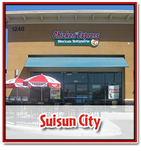 outside view of the chicken express storefront in suisun city