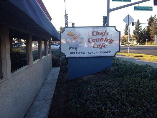 chef's country cafe breakfast lunch dinner sign