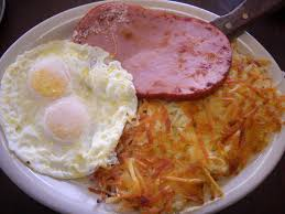 hashbrowns, eggs and ham