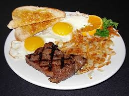 eggs, toast, hashbrowns and steak