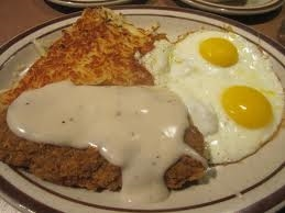 eggs, hashbrowns, country fried steak smothered in gravy
