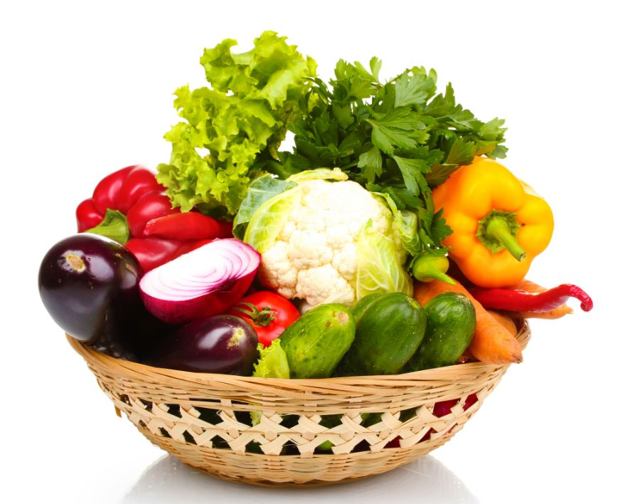 Basket with assorted vegetables
