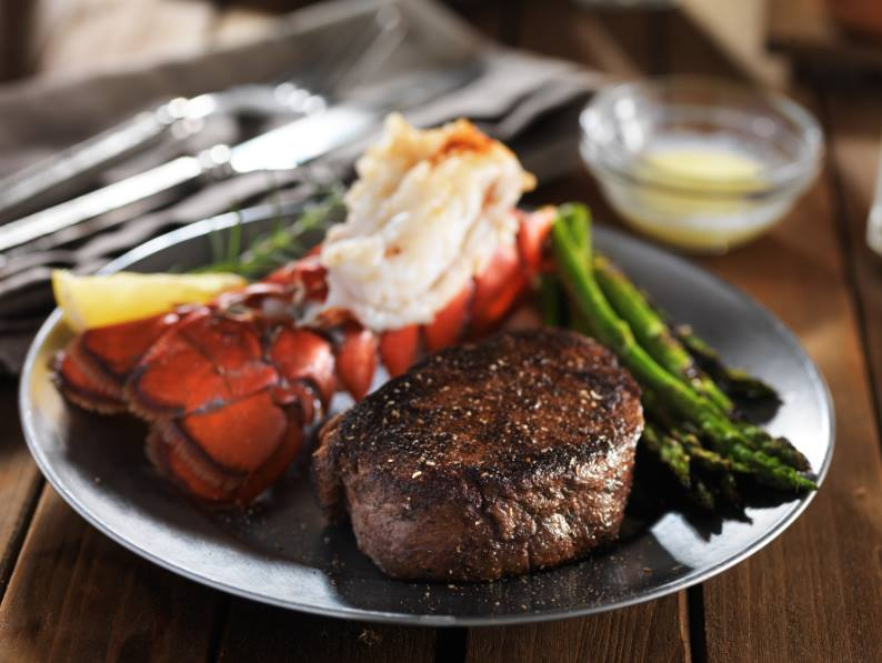 Tuesday Special: 10oz sirloin paired with a 5oz Lobster Tail $21.99