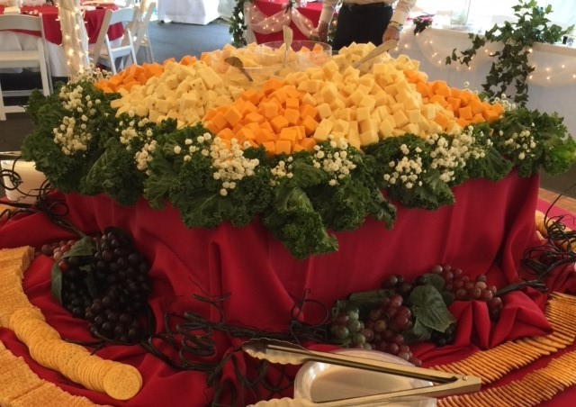 assorted cheeses and crackers for catering