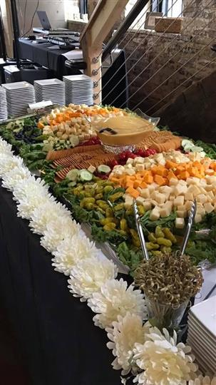 a display of assorted antipasto for catering