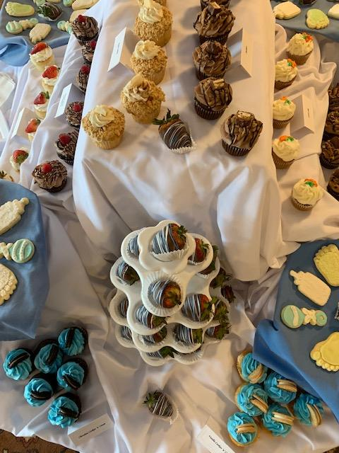 assorted desserts on a catering table