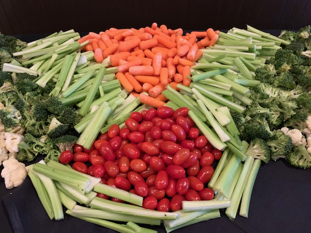 assorted veggies on a catering table