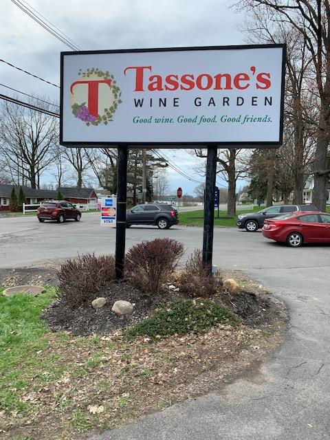 the new tassone's wine garden sign