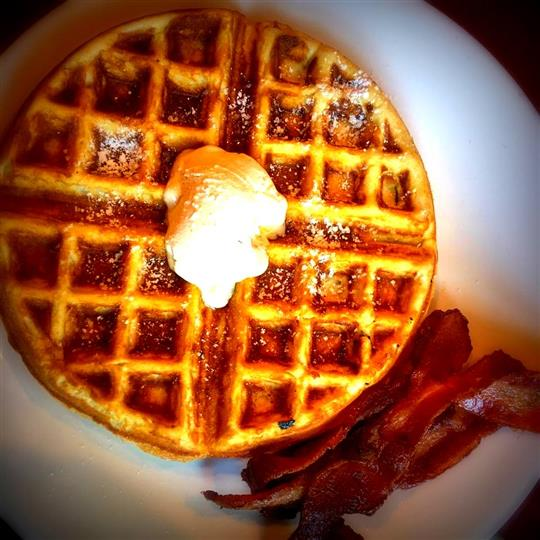 waffle with bacon on the side