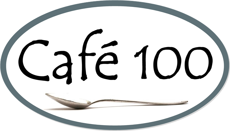 Cafe 100 Logo with spoon inside blue oval.