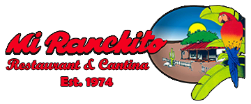 Mi Ranchito Restaurant & Cantina Est. 1974 logo. Parrot with red,yellow, and blue feathers sitting on tree staring at building