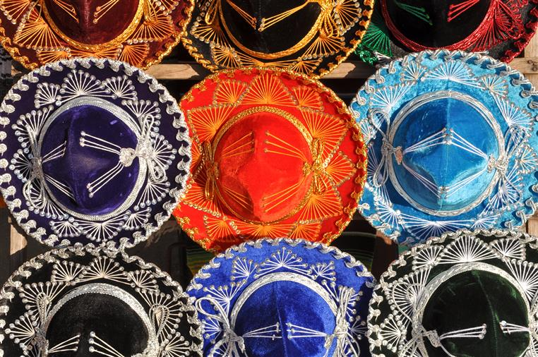 Red, Blue, and Black Sombreros lined up