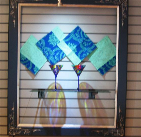 display with napkins and stem ware