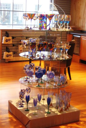 display of glass stem ware